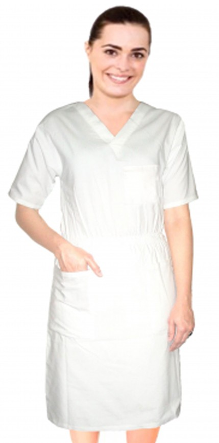 Clearance Nursing dress half sleeve elastic waist v neck with 3 front pockets below knee length in White color