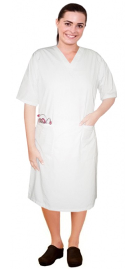 V neck half sleeve nursing dress with zip and 2 front pockets knee length