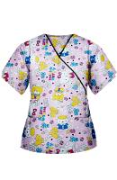 Hello Kitty Printed Top Mock Wrap Wth Black Piping 3 Pocket Half Seeve