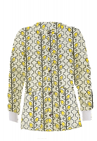 Jacket 2 pocket printed unisex full sleeve in Yellow petal and Grey print with rib
