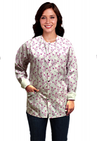 Jacket 2 pocket printed unisex full sleeve in Small Pink Flower Print with rib