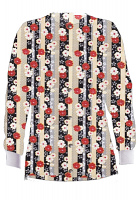 Jacket 2 pocket printed unisex full sleeve in Red and Beige flowers with Grey backgroud with rib