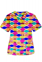 Top v neck 2 pocket half sleeve in Multicolor Geometric print (100% Polyester Fabric)
