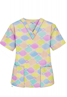 Top v neck 2 pocket half sleeve in Light Multicolor Geometric print (100% Polyester Fabric)