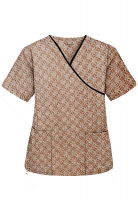 Top mock wrap 3 pocket half sleeve in Small Brown Flower Print with Black Piping (100% Polyester Fabric)