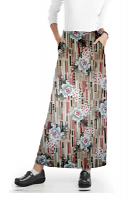 Cargo pockets ladies skirt A Line Full Elastic waistband ladies skirt in Flower and Shapes Print