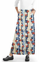 Cargo pockets ladies skirt A Line Full Elastic waistband ladies skirt in Red and Beige flowers with blue background