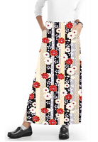 Cargo pockets ladies skirt A Line Full Elastic waistband ladies skirt in Red and Beige flowers with Grey backgroud