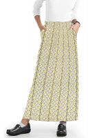 Cargo pockets ladies skirt A  Line Full Elastic waistband ladies skirt in Yellow petal and Grey print
