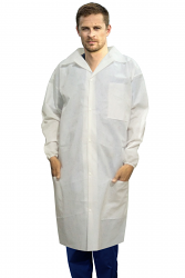 Disposable lab coat unisex full sleeve with front plastic snap buttons 3 pocket