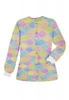 Jacket 2 pocket printed unisex full sleeve in Light Multicolor Geometric Print with rib (100% Polyester Fabric)