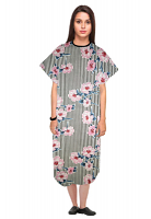 Patient gown half sleeve  printed back open, Flower and Line Print with black piping, Sizes XS-9X