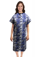 Patient gown half sleeve  printed back open, Blue And White Flower Print with black piping, Sizes XS-9X