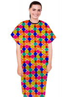 Patient gown half sleeve  printed back open, Multicolor Geometric Print with Black Piping, Sizes XS-9X (100% Polyester Fabric)