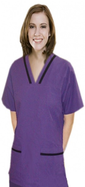 Microfiber contrast bias v-neck tunic style 4 pocket half sleeve with matching bottom (top 2 pkt with bottom 2 pkt boot cut)