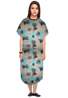 Patient gown half sleeve  printed back open, Turquoise and Black Obstract art with Black Piping, Sizes XS-9X