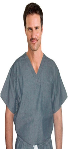 DENIM SCRUB TOP V NECK 1 POCKET NORMAL HALF SLEEVE UNISEX