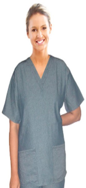 DENIM SCRUB TOP V NECK 2 FRONT POCKET SOLID HALF SLEEVE LADIES