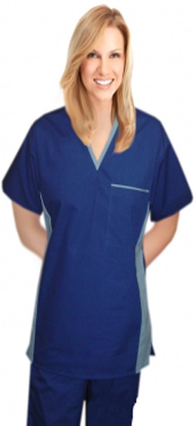 Scrub top 1 pocket v-neck half sleeve matching style solid unisex