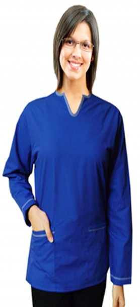Top 2 pocket ladies u neck full sleeve style solid