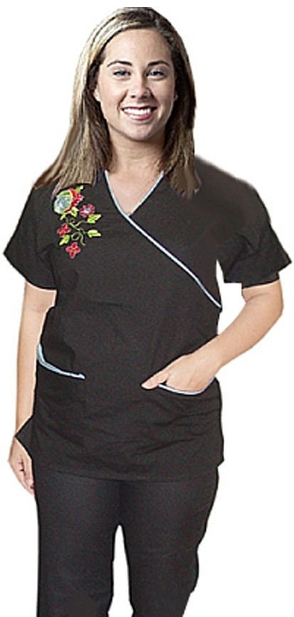 Top with mock wrap 3 pkt half sleeve embroidered top