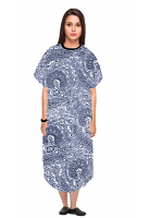 Patient gown half sleeve printed back open, Blue Paisley Print with Black Piping, Sizes XS-9X