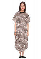 Patient gown half sleeve printed back open, Brown Paisley Print with Black Piping, Sizes XS-9X
