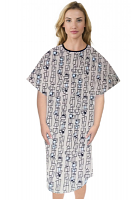 Patient gown half sleeve printed back open, Geometric Print with Black Piping, Sizes XS-9X