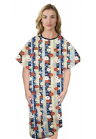 Patient gown half sleeve printed back open, Red and Beige flowers with blue background with Black Piping, Sizes XS-9X