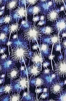 Blue Fire Work Print Loose Fabric (52% Polyester & 48  Cotton ) Per Meter