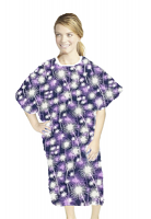 Patient gown half sleeve printed  back open, Purple Fire Work Print, Sizes XS-9X
