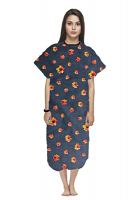 Patient gown half sleeve printed  back open, Navy Print with Red Flower, Sizes XS-9X