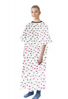 Patient gown half sleeve printed  back open, Cherry Blossom Print, Sizes XS-9X