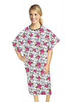 Patient gown half sleeve printed back open, Hey You Print, Sizes XS-9X