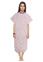 Patient gown half sleeve printed back open, Pink and black flower, Sizes XS-9X