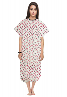 Patient gown half sleeve printed back open, Red and and Black Flower Print, Sizes XS-9X
