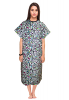 Patient gown half sleeve printed back open, Leopard print Print, Sizes XS-9X