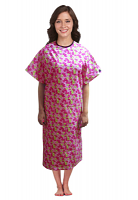 Patient gown half sleeve  printed back open, Petal Story Print, Sizes XS-9X