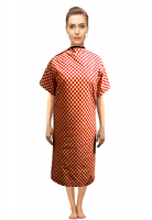 Patient gown half sleeve  printed back open, Red Square Print, Sizes XS-9X