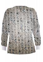 Jacket 2 pocket printed unisex full sleeve in Geometric Print with rib