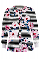 Jacket 2 pocket printed unisex full sleeve in Flower and Line Print with rib