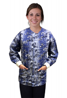 Jacket 2 pocket printed unisex full sleeve in Blue And White Flower Print with rib