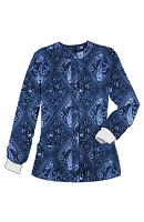 Jacket 2 pocket printed unisex full sleeve in Blue with Blue Classical Print with rib