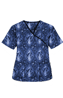Top mock wrap 3 pocket half sleeve in Blue with Blue Classical Print with black piping