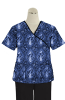 Printed scrub set mock wrap 5 pocket half sleeve in Blue with Blue Classical Print With Black Piping (top 3 pocket with black bottom 2 pocket boot cut)