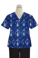 Printed scrub set 4 pocket ladies half sleeve Blue with Blue Classical Print (2 pocket top and 2 pocket black pant)
