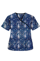 Top mock wrap 3 pocket half sleeve in Blue with Pink Classical Print with black piping