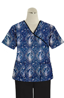 Printed scrub set mock wrap 5 pocket half sleeve in Blue with Pink Classical Print With Black Piping (top 3 pocket with black bottom 2 pocket boot cut)