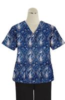 Printed scrub set 4 pocket ladies half sleeve Blue with Pink Classical Print (2 pocket top and 2 pocket black pant)