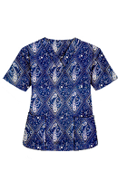 Top v neck 2 pocket half sleeve in Blue with Blue Classical Print